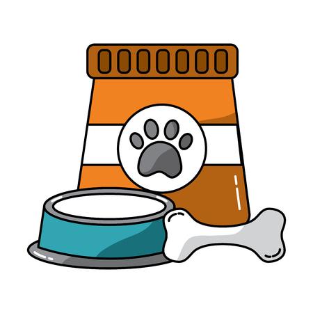 음식 그릇 및 뼈 애완 동물 아이콘 이미지 벡터 일러스트 디자인