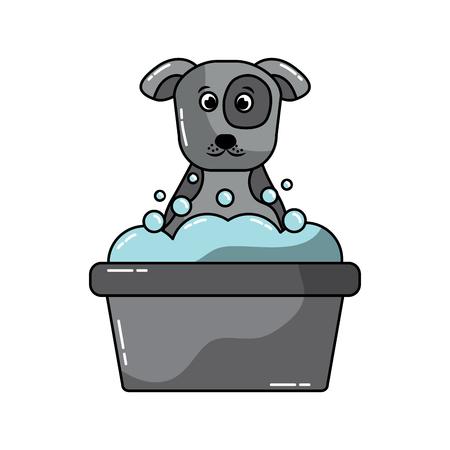 강아지 또는 강아지 욕조 애완 동물 아이콘 이미지 벡터 일러스트 디자인 일러스트