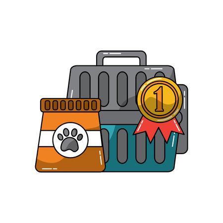 pet transporter award ribbon food icon image vector illustration design