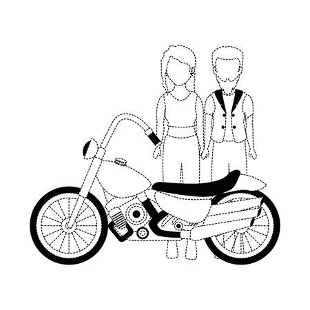 Motard brute couple avatar caractère vector illustration design Banque d'images - 92273530