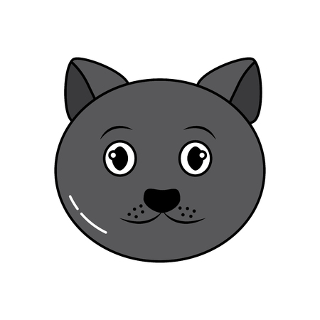 cat face cartoon pet icon image vector illustration design  Illustration