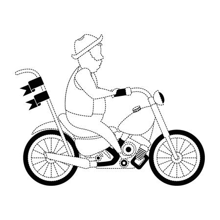 모자 아바타 캐릭터 벡터 일러스트 디자인과 거친 오토바이 일러스트