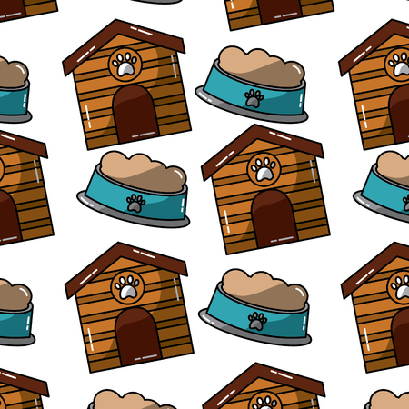 house and food bowl pet pattern,image vector illustration design