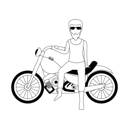 rough motorcyclist avatar character vector illustration design Çizim