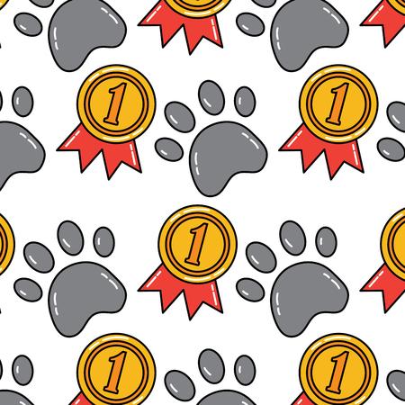 paw award ribbon pet pattern image vector illustration design