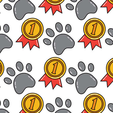 paw award ribbon pet pattern image vector illustration design