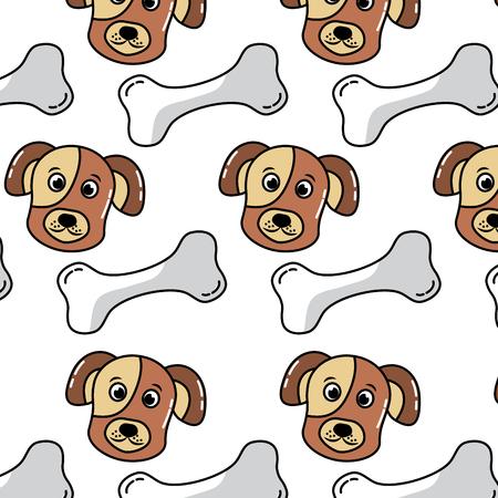 犬と骨ペットパターン画像ベクトルイラストデザイン 写真素材 - 92273442