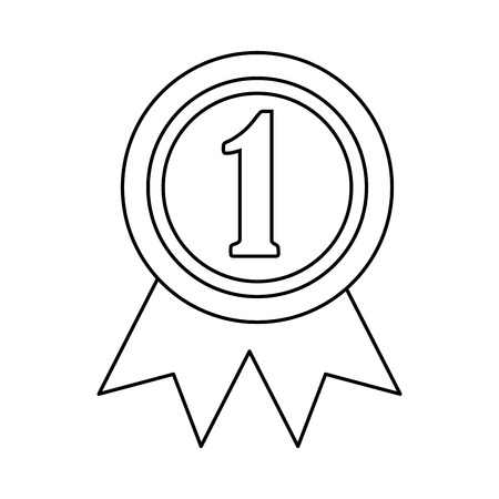 ribbon award first place icon image vector illustration design