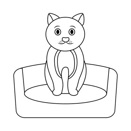 cat on bed cartoon pet icon image vector illustration design  向量圖像