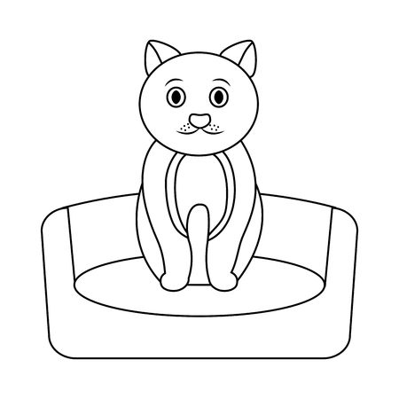 cat on bed cartoon pet icon image vector illustration design  Illustration