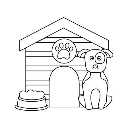 개 집과 음식 그릇 애완 동물 아이콘 이미지 벡터 일러스트 레이 션 디자인