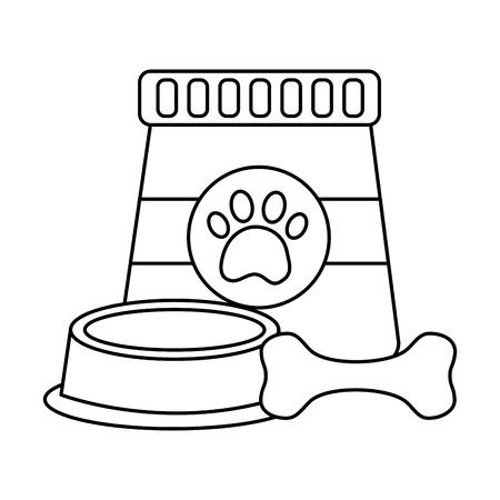 food bowl and bone pet icon image vector illustration design  Çizim