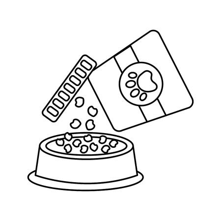 음식 그릇 애완 동물 아이콘 이미지 벡터 일러스트 디자인