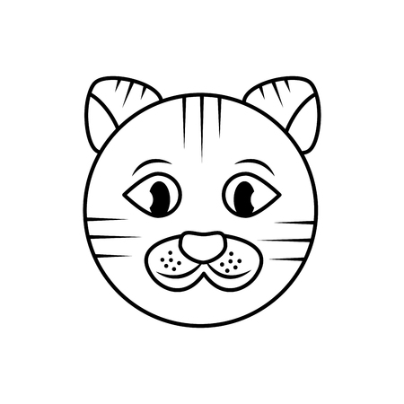 cat face cartoon pet icon image vector illustration design   イラスト・ベクター素材