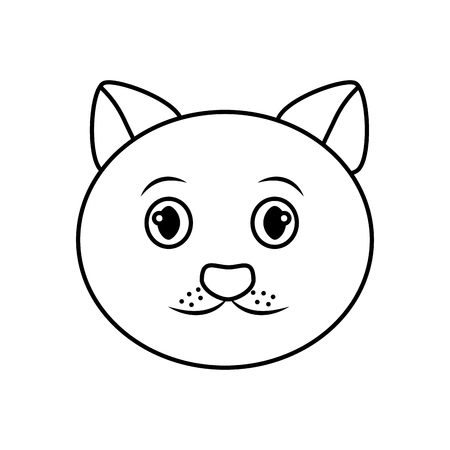 cat face cartoon pet icon image vector illustration design  Illustration