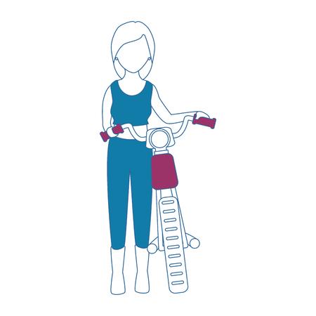 セクシーなモーターサイクリストアバターキャラクターベクトルイラストデザイン