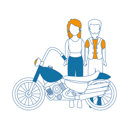 rough motorcyclist couple avatar character vector illustration design