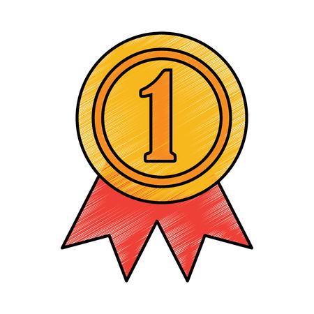 award rosette number one competition vector illustration  イラスト・ベクター素材