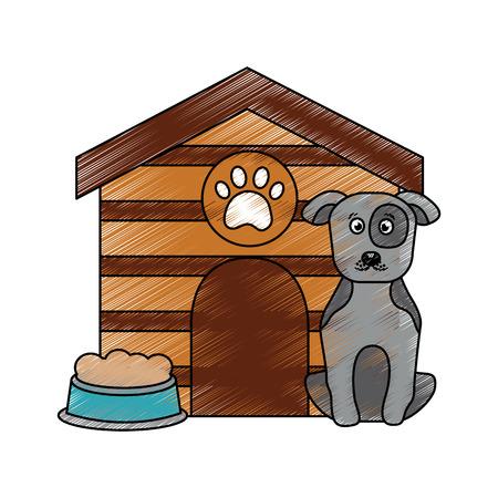 애완 동물 강아지 집 음식 벡터 일러스트와 함께 앉아