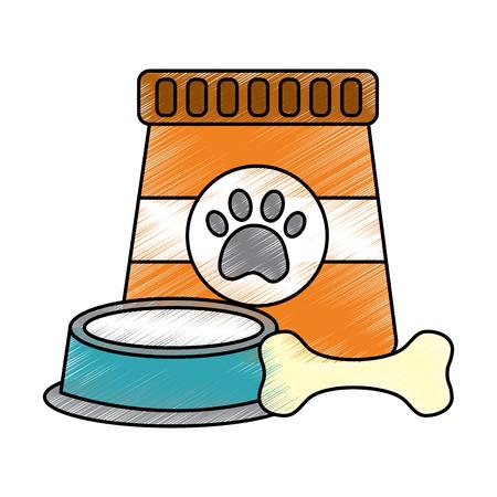 Pet food and bowl with bone vector illustration Ilustração