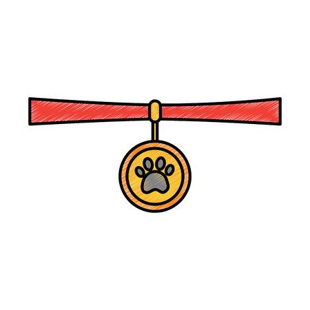 Pet necklace vector illustration Illusztráció