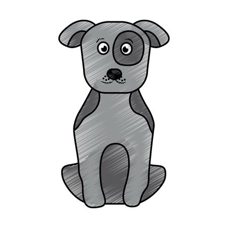 pet dog sitting animal domestic vector illustration Çizim