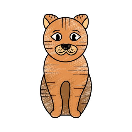 고양이 앉아 애완 동물 동물 국내 벡터 일러스트 레이션