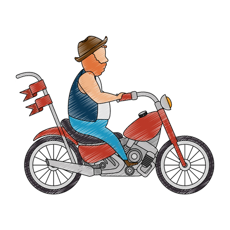 Motociclista masculino com projeto da ilustração do caráter do avatar do chapéu. Foto de archivo - 92277689