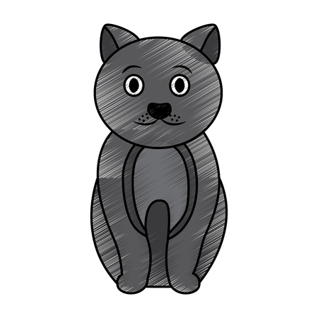 Sitting pet animal domestic illustration.