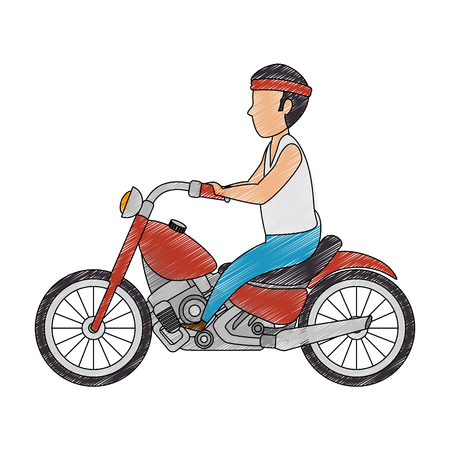 Male motorcyclist avatar character illustration design.