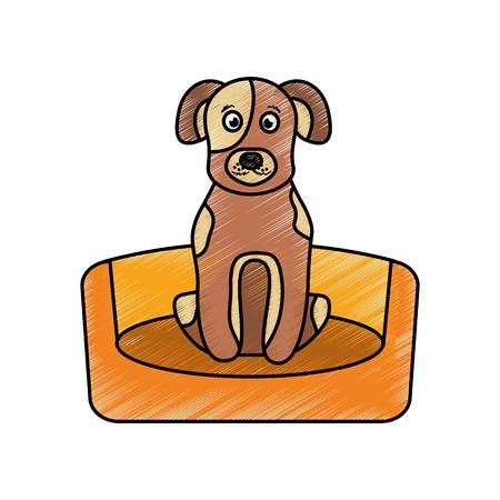 dog sitting in the bed pet animal vector illustration Illustration