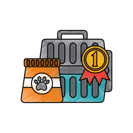 pet travel carrier bag and food vector illustration Ilustração
