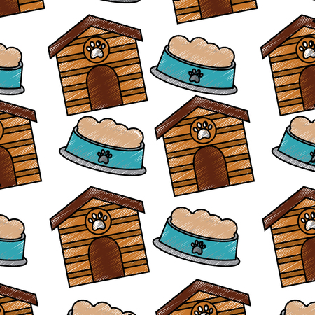 pet house and bowl food animal seamless pattern vector illustration