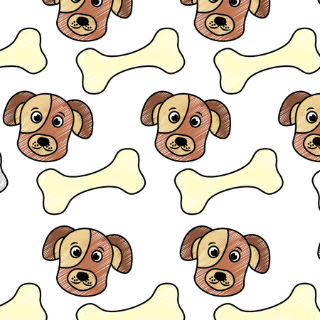 pet dog head and bone toy food pattern vector illustration Stock Vector - 92279067