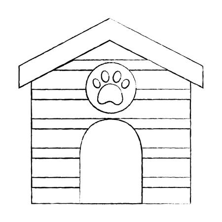 ペットハウス木製足プリントベクトルイラスト付き