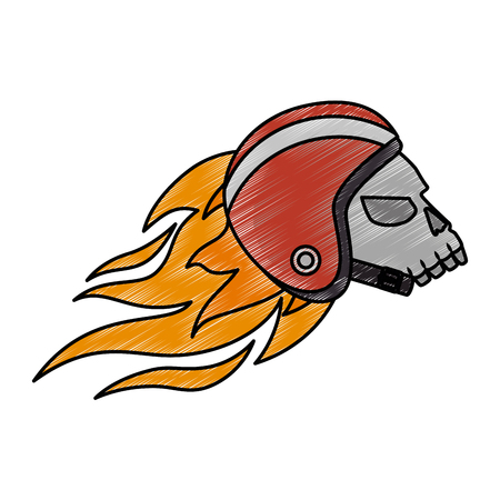 extreme skull with helmet and flames vector illustration design