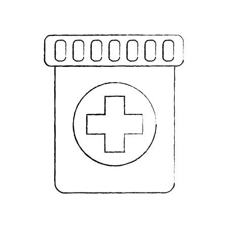 medical bottle capsule healthcare pharmacy vector illustration
