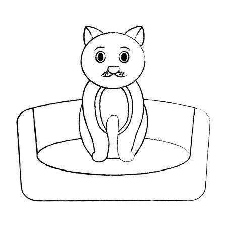 고양이 동물 애완 동물 침대 벡터 일러스트