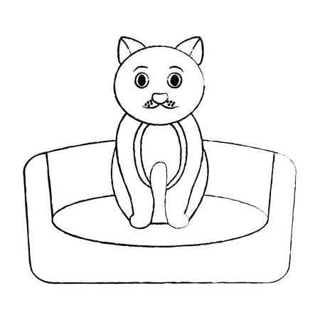 cat animal pet in the bed vector illustration