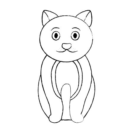 Chat assis illustration vectorielle domestique animal de compagnie Banque d'images - 92276572
