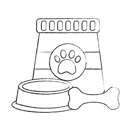 pet food and bowl bone animal vector illustration Illustration