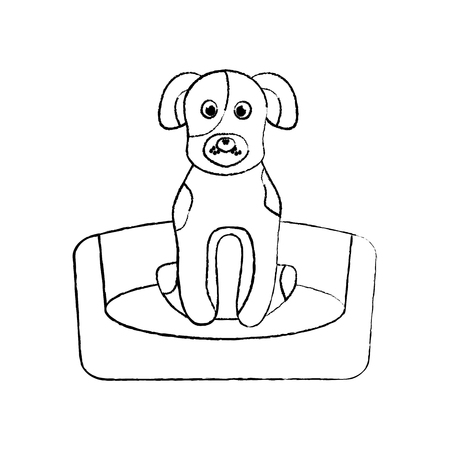 dog sitting in the bed pet animal vector illustration 向量圖像