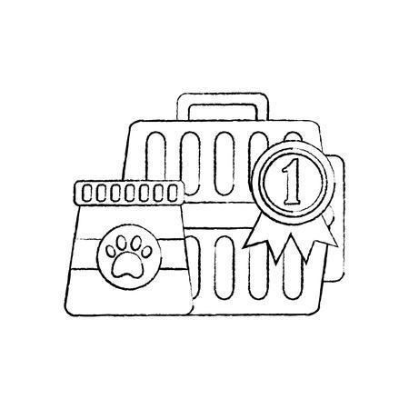 ペット旅行キャリアバッグと食品ベクターイラスト  イラスト・ベクター素材