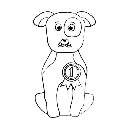 Cão de estimação com medalha sentado ilustração vetorial de animais domésticos Foto de archivo - 92276701