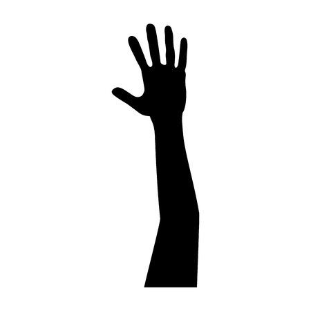 Hand op vector de illustratieontwerp van het silhouetpictogram Stockfoto - 92277655