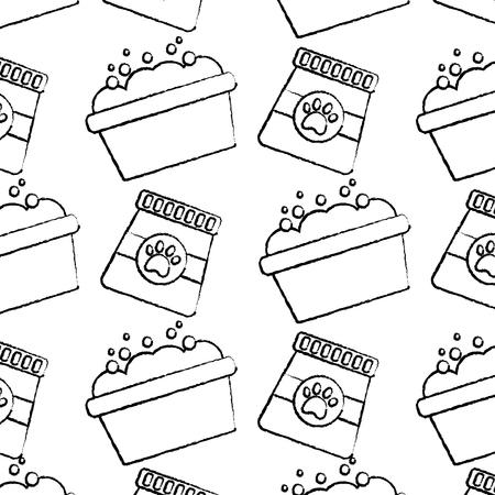 Pet food and grooming seamless pattern vector illustration Illustration
