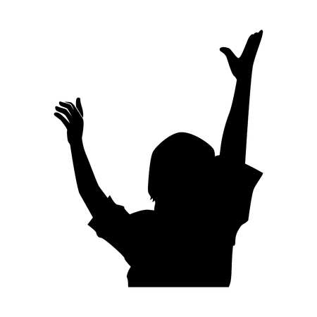 Human silhouette with hands up vector illustration design