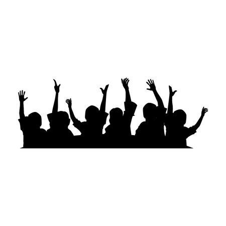 People with hands up silhouette vector illustration design