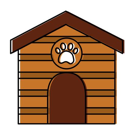 Huisdier huis houten met pootafdruk vectorillustratie