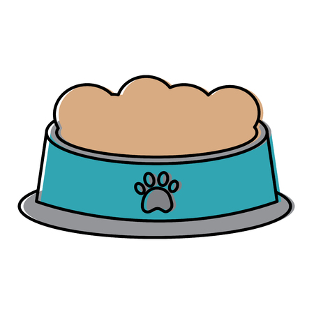 Pet bowl with food diet nutrition vector illustration